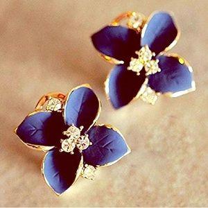 Jewelry - Blue Lily Crystal Earrings